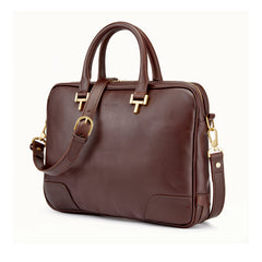 Tusting Mortimer Leather Brief Bag in Chocolate-Business Bags-Sterling-and-Burke