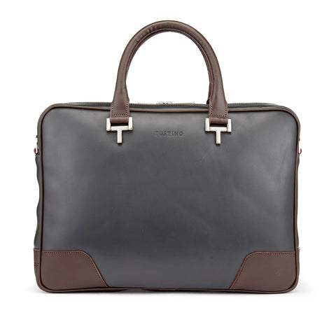 Tusting Mortimer Leather Brief Bag Pewter and Chocolate