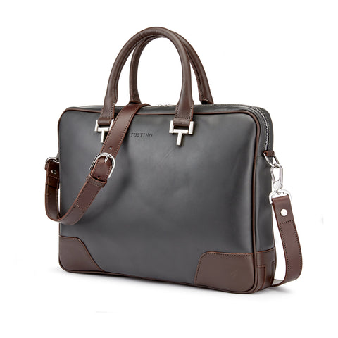 Tusting Mortimer Leather Brief Bag Pewter and Chocolate-Business Bags-Sterling-and-Burke
