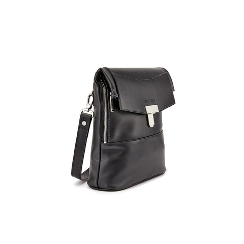Tusting Ripon Reporter Messenger Bag in Black-Business Bags-Sterling-and-Burke
