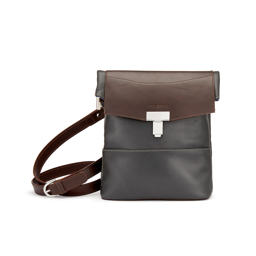 Tusting Ripon Reporter Messenger Bag in Pewter and Chocolate-Business Bags-Sterling-and-Burke
