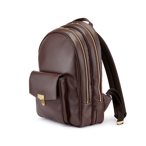 Tusting Seaton Leather Backpack in Chocolate-Business Bags-Sterling-and-Burke