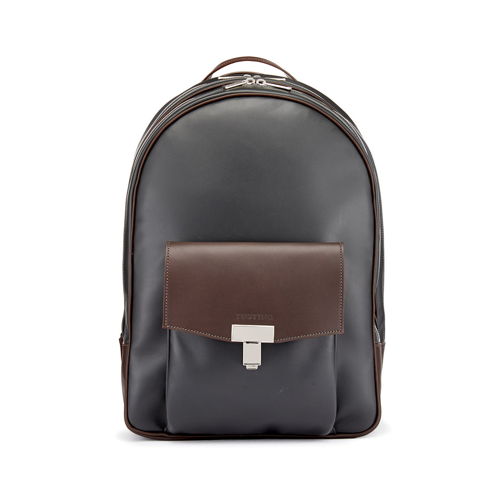 Tusting Seaton Leather Backpack in Pewter and Chocolate-Business Bags-Sterling-and-Burke