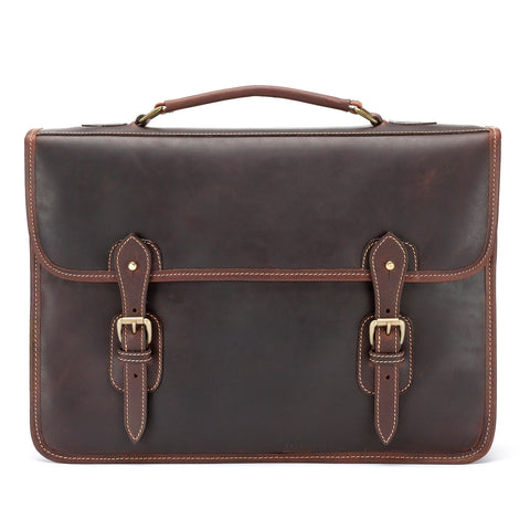 Tusting Wymington Two Double Gusset Leather Briefcase