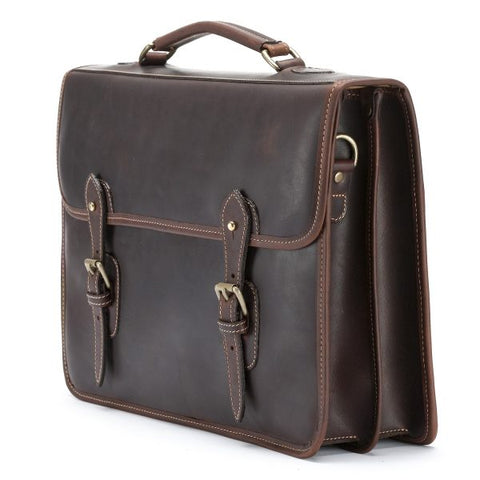 Tusting Wymington Two Double Gusset Leather Briefcase in Sundance-Business Bags-Sterling-and-Burke