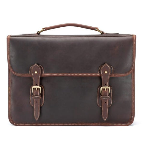 Tusting Wymington Two Double Gusset Leather Briefcase in Sundance