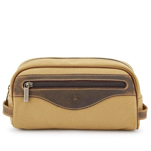 Tusting Excursion Toiletry Bag in Safari Canvas-Leather Accessories-Sterling-and-Burke