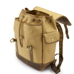 Tusting Walton Vintage Backpack in Safari Canvas and Leather-Travel Bags-Sterling-and-Burke