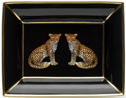 Fine English Bone China | Twin Leopards | Trinket Tray | Halcyon Days-Trinket Tray-Sterling-and-Burke