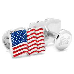 Waving American Flag Cufflinks | Sterling Silver | Enamel US Flag Cuff Links | Waving Flag-Cufflinks-Sterling-and-Burke