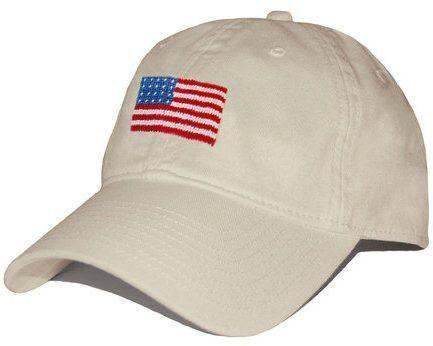 American Flag Hat | USA Flag Ball Cap | Needlepoint Flag Hat | Khaki Stone | Smathers and Branson