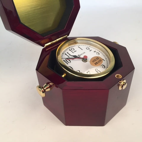VA Service Award | 55 Years | Solid Brass Clock | Cherry Wood Box | Award Clock | Captains Clock Clock | Sterling and Burke