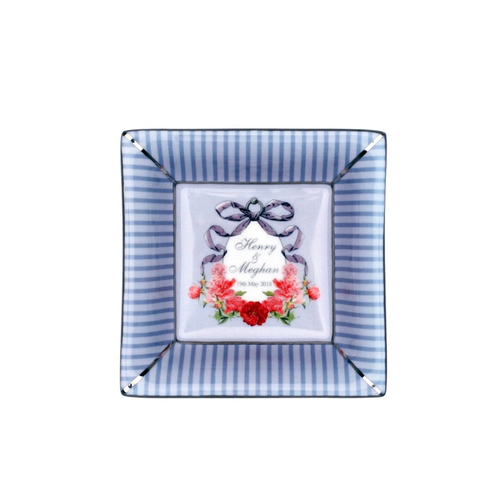 Halcyon Days Wedding Ribbons Henry & Meghan Square Trinket Tray-Bone China-Sterling-and-Burke