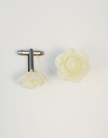 Flower Cufflinks | Ivory White Floral Cuff Links | Matte Finish Cufflinks | Hand Made in USA