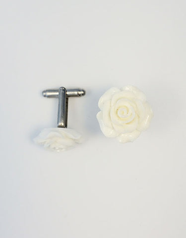 Flower Cufflinks | White Floral Cuff Links | Polished Finish Cufflinks | Hand Made in USA