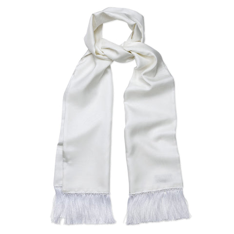 Budd Scarf | Tuxedo Scarf | White / White Silk Dress Scarf with Paisley Design | Silk Formal Wear Scarf |  Ivory | Budd Shirtmakers