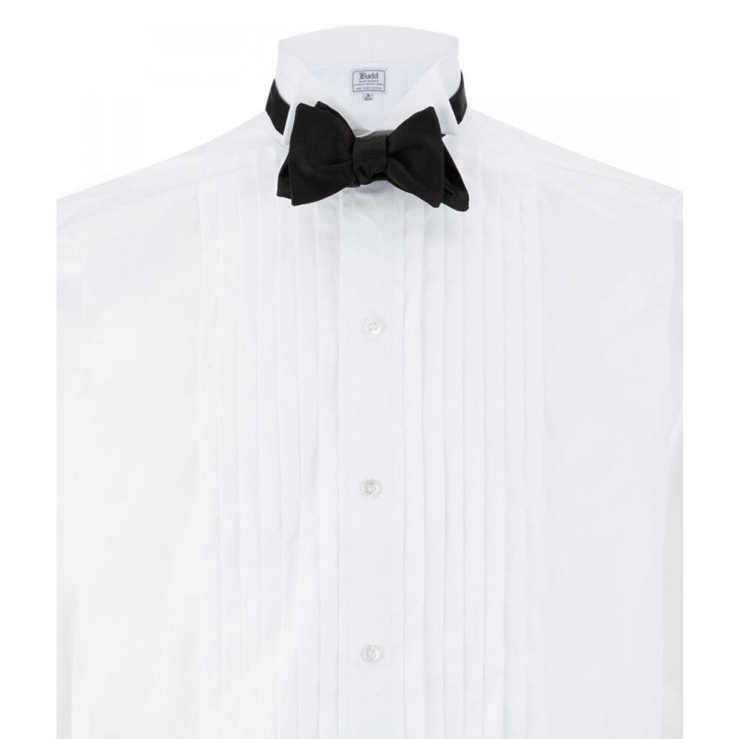 Budd Wing Collar Hand Pleated Dress Shirt in White-Dress Shirt-Sterling-and-Burke