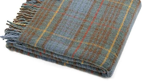 Thick Wool Blanket | Antique Hunting Stewart Tartan | 60 by 72 inches | Made in Scotland | Sterling and Burke-Blanket-Sterling-and-Burke