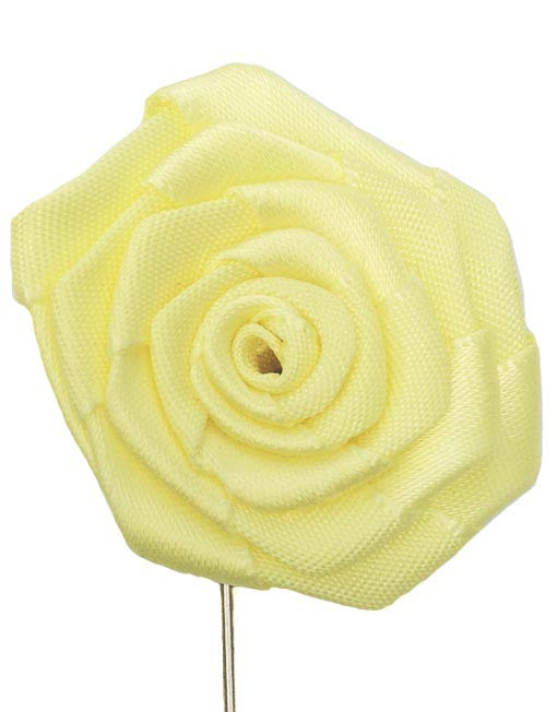 Silk Floral Lapel Pin, Yellow-Lapel Pin-Sterling-and-Burke