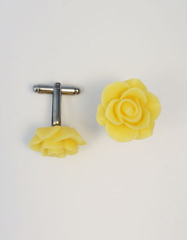 Flower Cufflinks | Yellow Floral Cuff Links | Matte Finish Cufflinks | Hand Made in USA