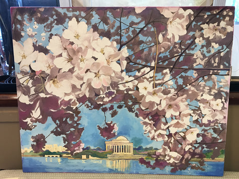 Cherry Blossoms, April, DC, Original Oil and Acrylic Painting, 24 by 30 inches-Oil and acrylic-Sterling-and-Burke