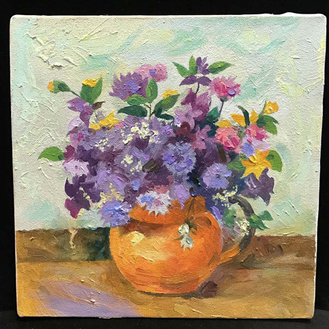 Purple Flowers, Original Oil and Acrylic Painting on Canvas, 10 by 10 Inches-Original oil-Sterling-and-Burke