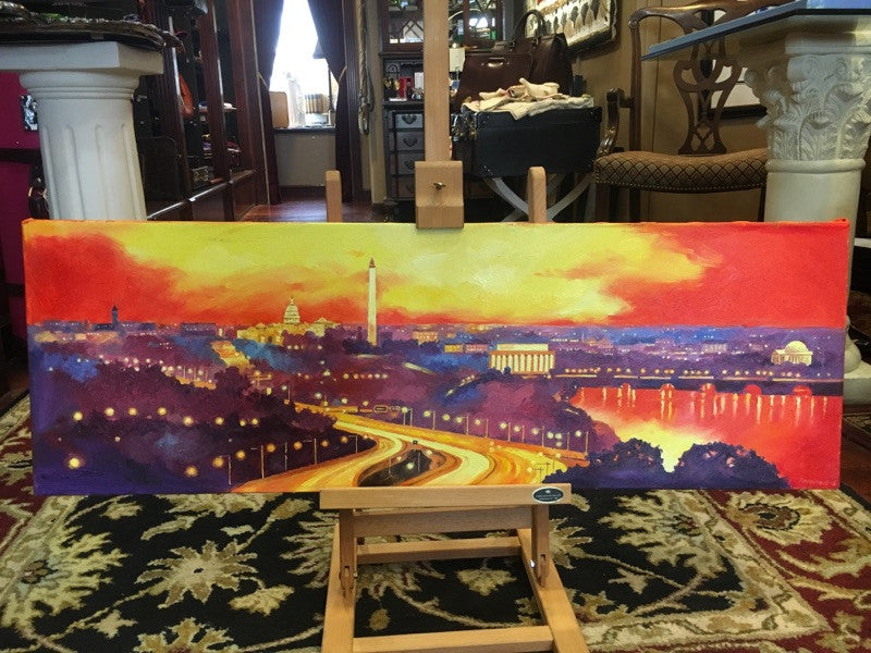 "Red DC Panorama | Original Oil and Acrylic Painting on Canvas by Zachary Sasim | 12"" by 36"" 