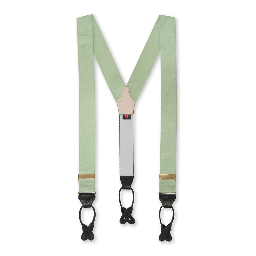 Budd Barathea Braces with Buttons in Olive-Braces / Suspenders-Sterling-and-Burke