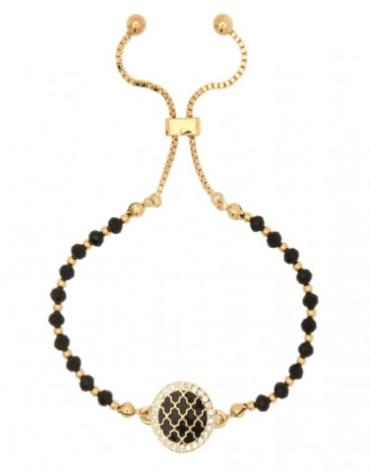 Halcyon Days Agama Sparkle Beaded Friendship Bangle in Black and Gold | Sterling & Burke