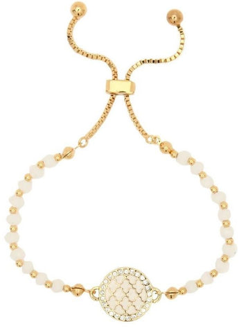 Halcyon Days Agama Sparkle Beaded Friendship Bangle in Cream and Gold | Sterling & Burke