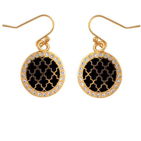 Halcyon Days Agama Sparkle Enamel Earrings in Black and Gold