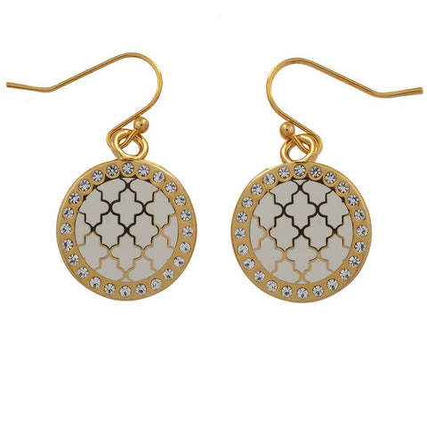 Halcyon Days Agama Sparkle Enamel Earrings in Cream and Gold