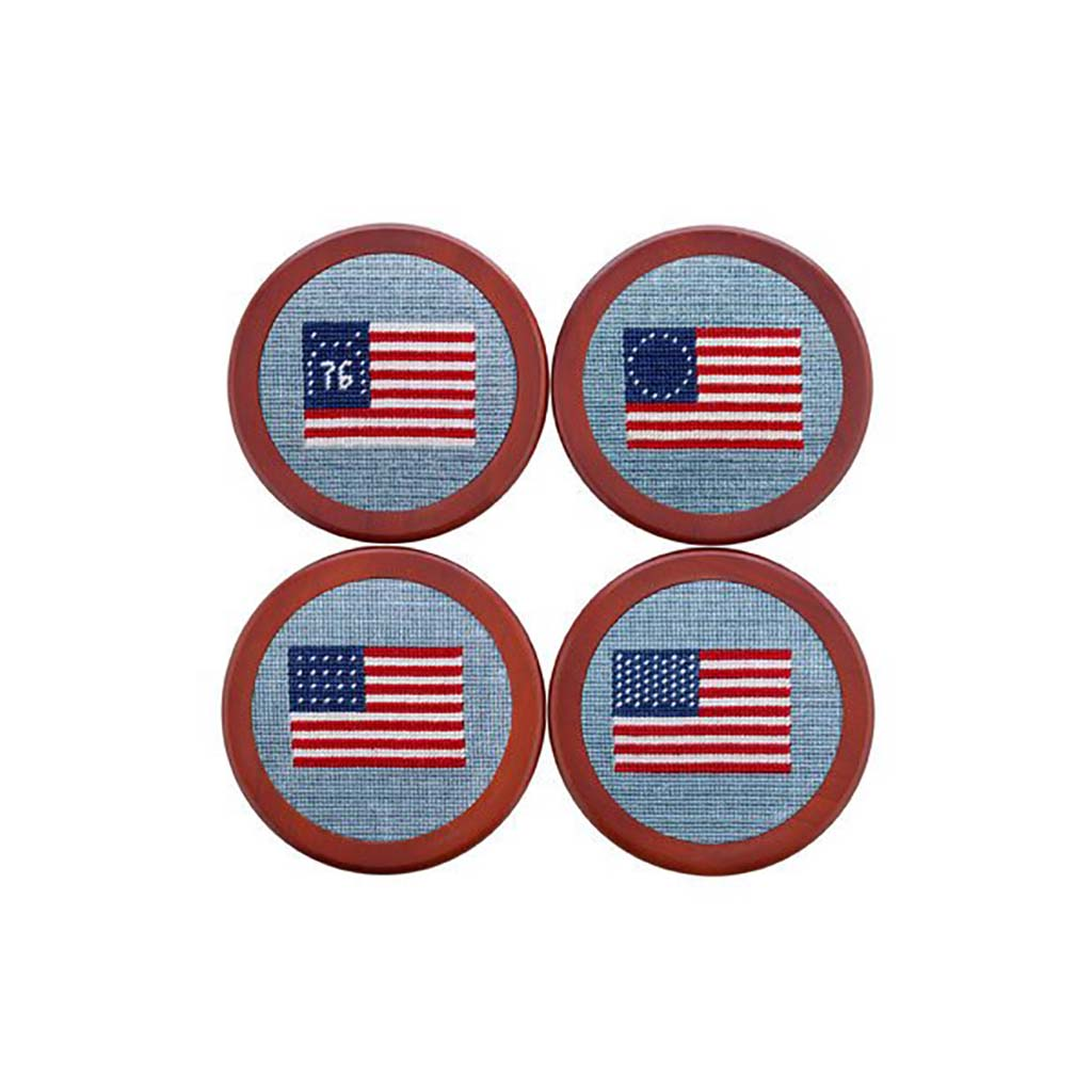 Needlepoint Collection | American Flag Needlepoint Coaster Set | Smathers and Branson-Coasters-Sterling-and-Burke