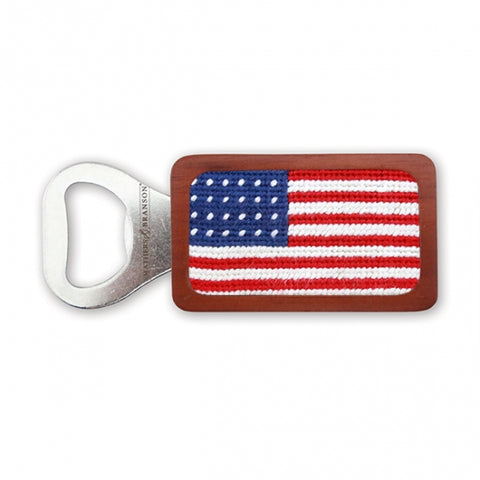 American Flag | Bottle Opener| Needlepoint | Smathers and Branson-Sterling-and-Burke
