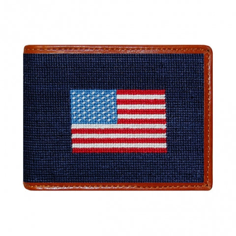 Needlepoint Collection | American Flag Needlepoint Bi-Fold Wallet | Hip Wallet | Navy | Smathers and Branson