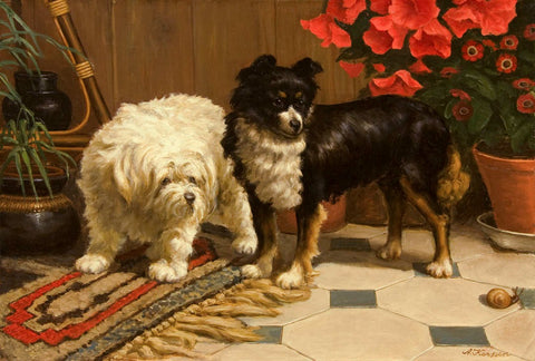 Antique Oil Painting | Two Pups Watching a Snail by Anton Karssen | 23 by 31 Inches