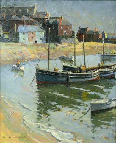 "Antique Oil Painting | Morning at St. Ives (Fishing Boats) by Arthur Hayward | 15"" x 13""-Oil Painting-Sterling-and-Burke"