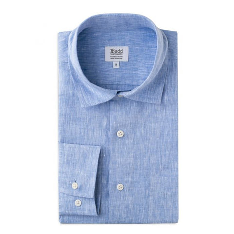Budd Casual Fit Plain Linen Button Cuff Shirt in Budd Blue