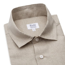 Load image into Gallery viewer, Budd Casual Fit Plain Linen Button Cuff Shirt in Natural-Ready Made Shirt-Sterling-and-Burke