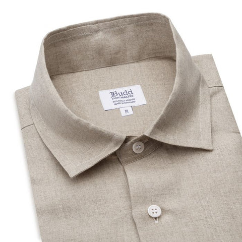 Budd Casual Fit Plain Linen Button Cuff Shirt in Natural-Ready Made Shirt-Sterling-and-Burke