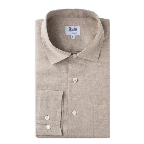 Budd Casual Fit Plain Linen Button Cuff Shirt in Natural