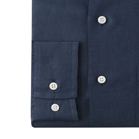Budd Casual Fit Plain Linen Button Cuff Shirt in Navy-Ready Made Shirt-Sterling-and-Burke
