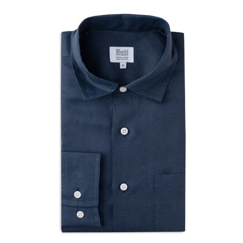 Budd Casual Fit Plain Linen Button Cuff Shirt in Navy