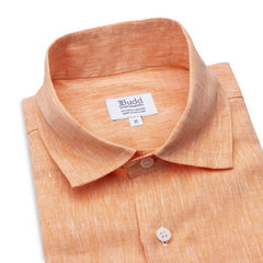 Budd Casual Fit Plain Linen Button Cuff Shirt in Orange-Ready Made Shirt-Sterling-and-Burke
