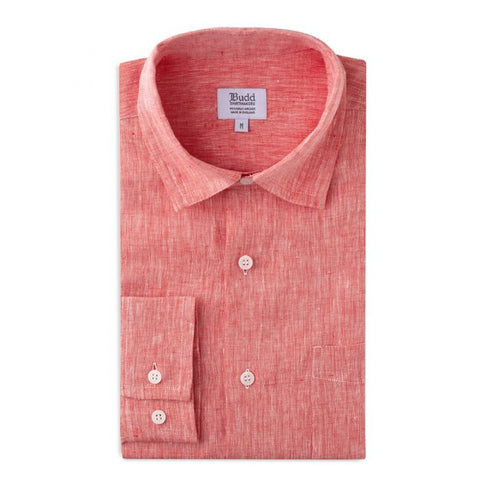 Budd Casual Fit Plain Linen Button Cuff Shirt in Red-Ready Made Shirt-Sterling-and-Burke