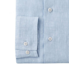 Budd Casual Fit Plain Linen Button Cuff Shirt in Sky Blue-Ready Made Shirt-Sterling-and-Burke