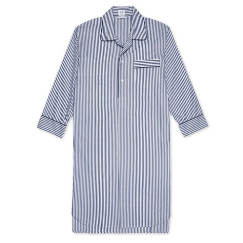 Budd Exclusive Stripe Cotton Nightshirt in Navy-Pajamas-Sterling-and-Burke