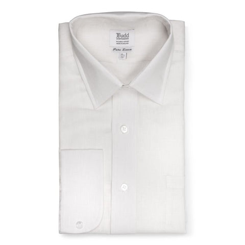 Budd Classic Fit Plain Linen Button Cuff Shirt in White