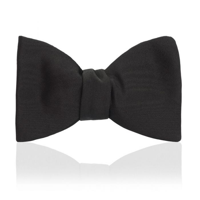 "Budd Moire 2.5"" Thistle Sized Bow Tie in Black-Bow Tie-Sterling-and-Burke"