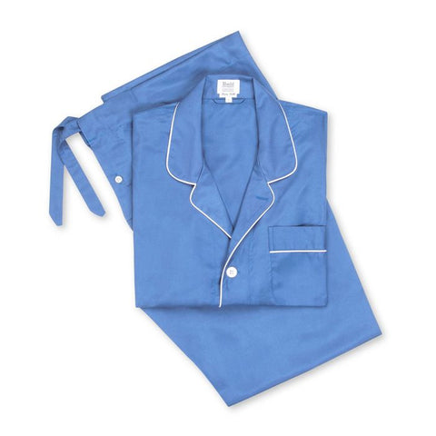 Budd Plain Silk Pyjamas in Blue and White